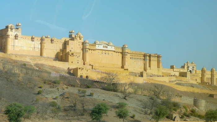 The Amber Fort seen from the valley floor.