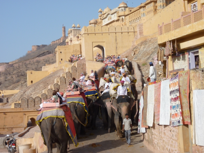 The elephant route up to The Amber Fort.