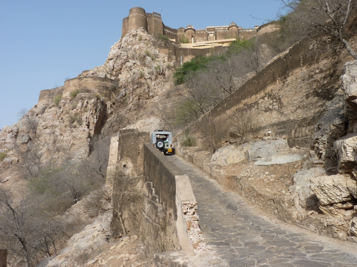 Kuchaman Fort and the old elephant track up to it.