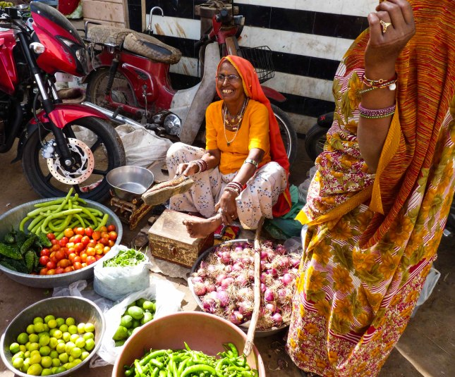 street sellers in the maze of streets in Kuchaman