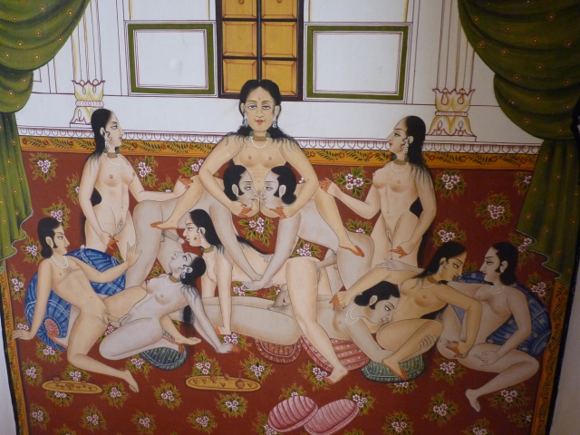One of the many Kama Sutra fresco's from the intimate harem at Kuchaman fort.