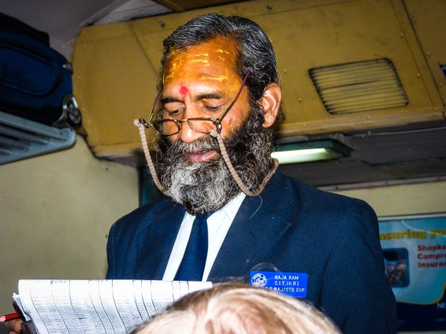 The Shatabi Express ticket conductor.