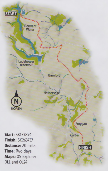 Map of 'The Edges' and proposed hiking route.