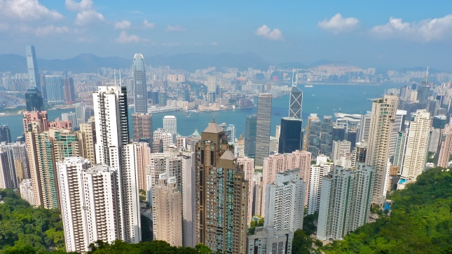 The cityscape of Hong Kong from Victoria Peak.