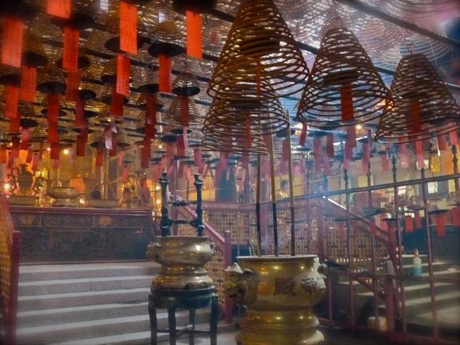 Smokey interior of the Man Ma Temple - Hong Kong.