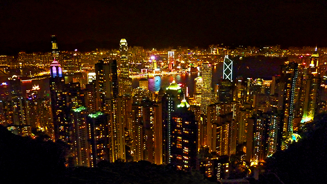 The cityscape of Hong Kong from Victoria Peak at night.