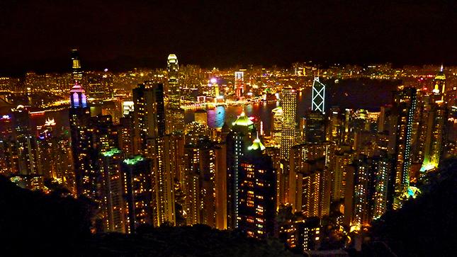 Hong Kong and Kowloon from the Peak at night