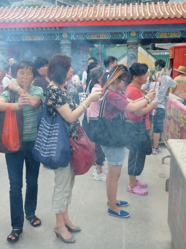 Worshippers at the Wong Tai Sin Temple.