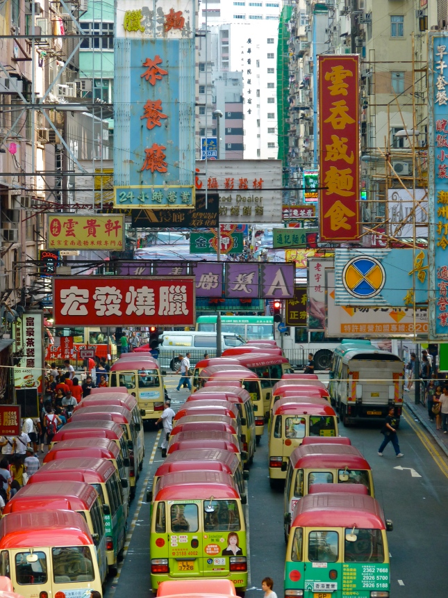 Downtown traffic chaos in Mong Kok.