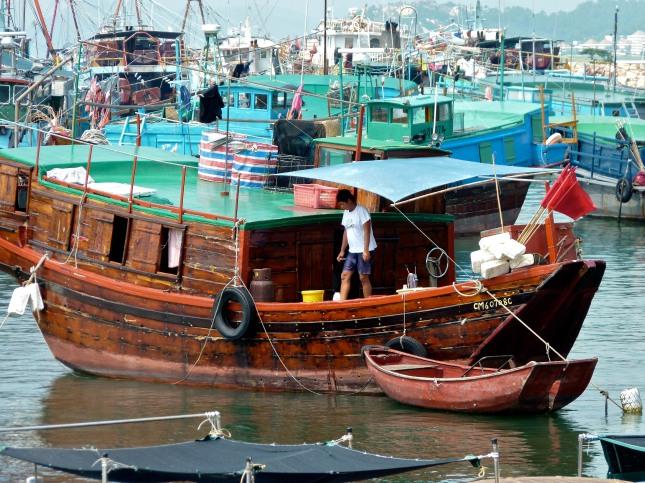 Junks in Cheng Chau Wan Harbour.