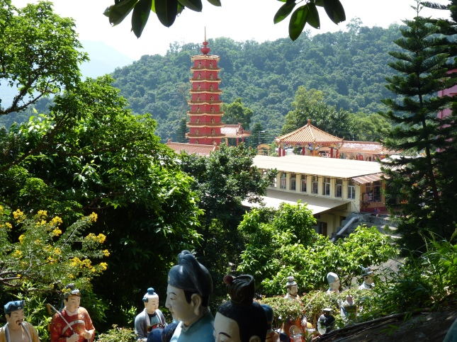 The Ten Thousand Buddhas Monastery seen from the upper gardens.