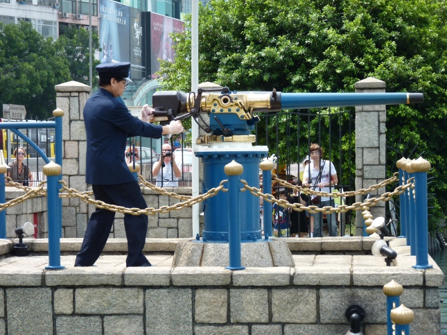 The Noon Day Gun being fired.