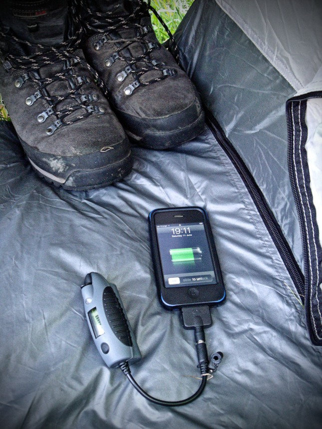 Power Monkey, iPhone and boots, essential equipment.