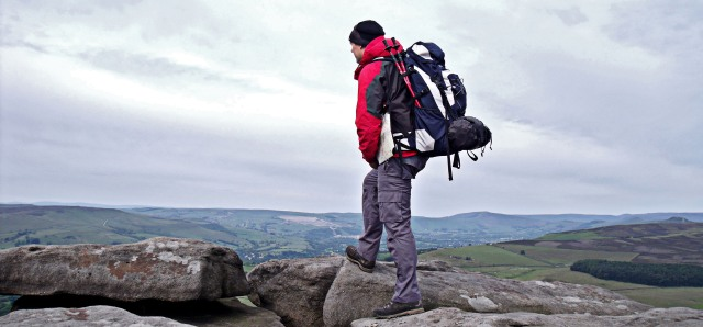 Looking out from Stanage Edge.