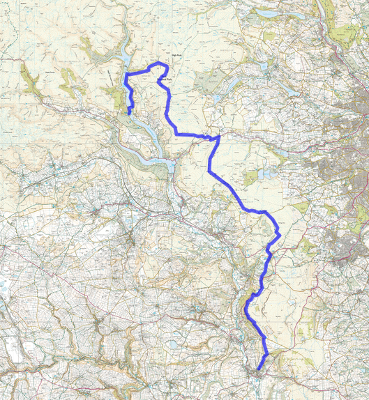 Northern Gritstone Edges Trail Map.