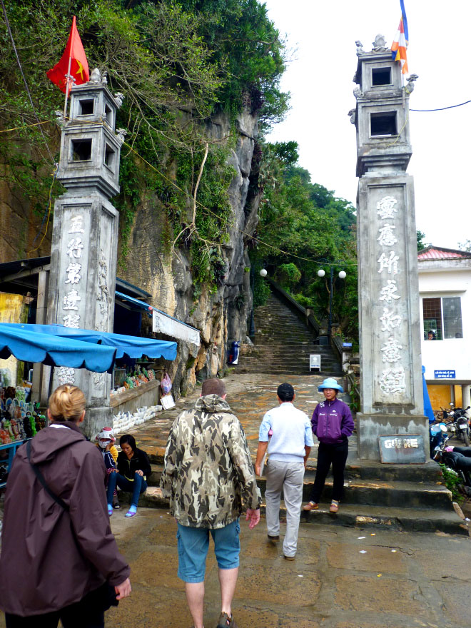 Starting the long climb up the steps to the top of Thuy Son