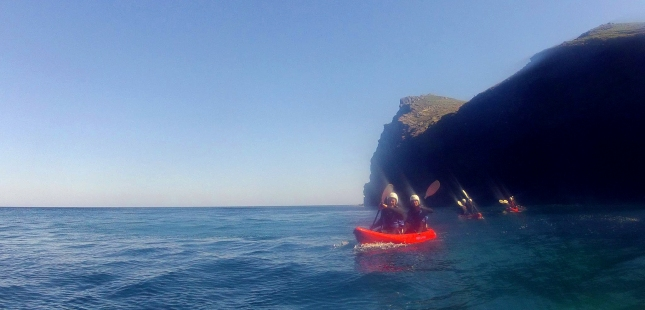 Sea-Kayaking along the rugged coastline