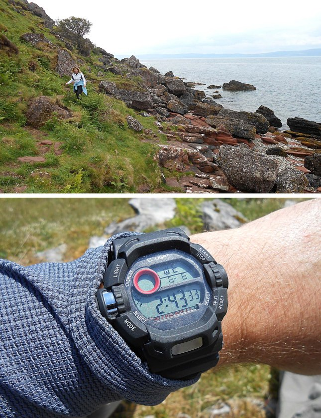 Tackling the rugged coastline around the Cock of Arran and checking timings for tides and distances!