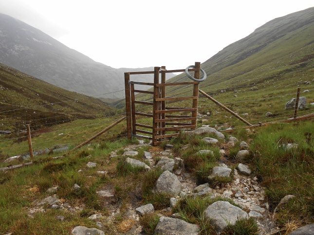The boundary fence and deer gate at Gleann Dionhan National Nature Reserve