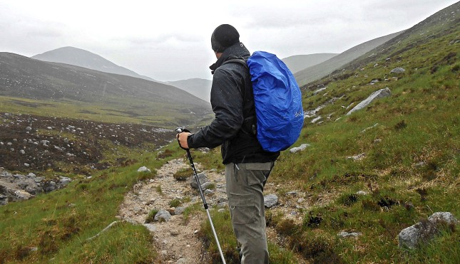 later in the year hiking on the very un-sunny but wet and windy The Isle of Arran, Scotland