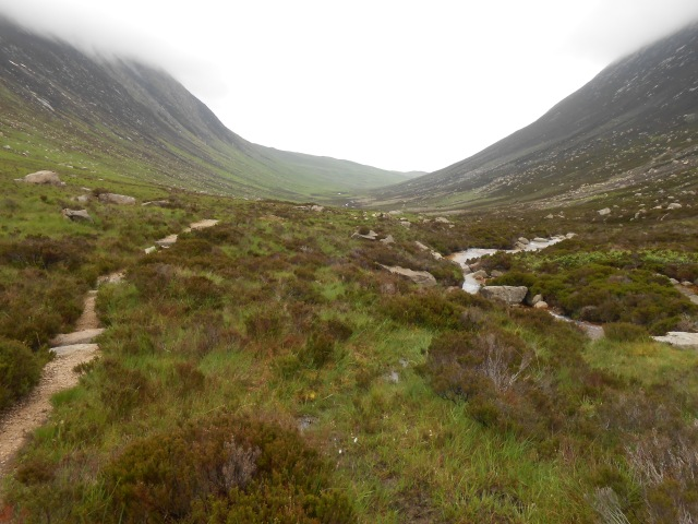 What would normally be a famous view along Glen Sannox if it were not for low clouds and mist