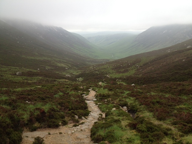 The descent path from The Saddle down into Glen Rosa