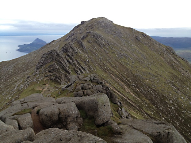 Looking along Stacach Ridge to Goatfell's summit