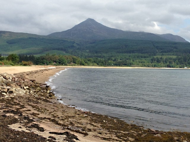 Goatfell seen closer from across Brodick Bay