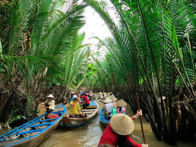A traffic-jam of Sampans along The Mekong Delta