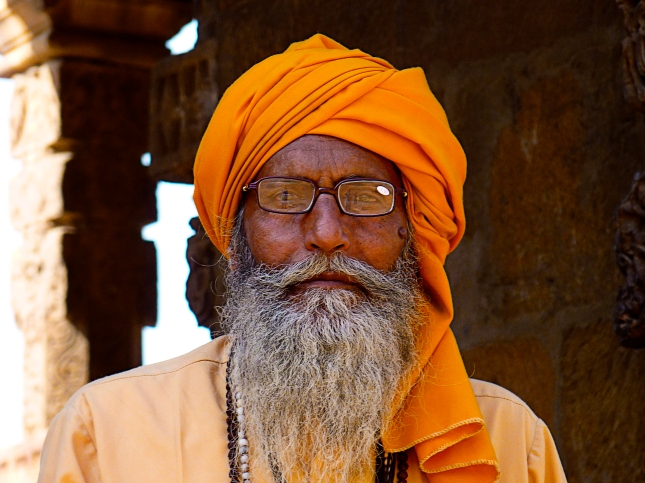 Old Indian man at Qutab Minar, Delhi, India