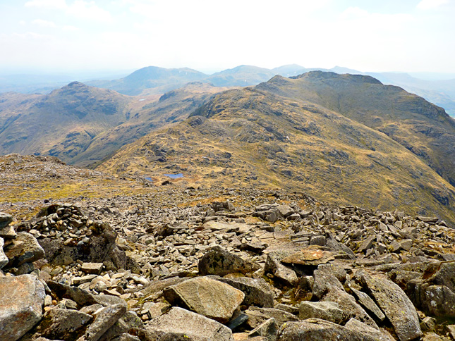 Looking down toward Three Tarns form the route up Bowfell