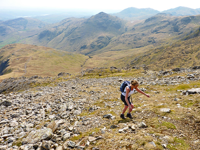 Hiking up The Band to Bowfell's Summit
