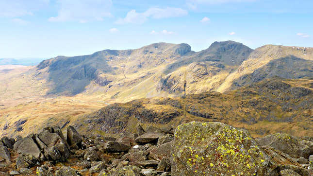 The Scafell Massif with Great Moss just seen below