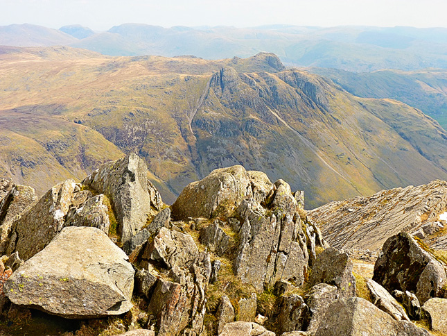 Pike O' Stickle and The Langdale Pikes below Bowfell's Summit