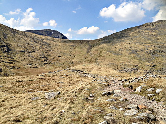 The path down from Esk Hause to Angle Tarn