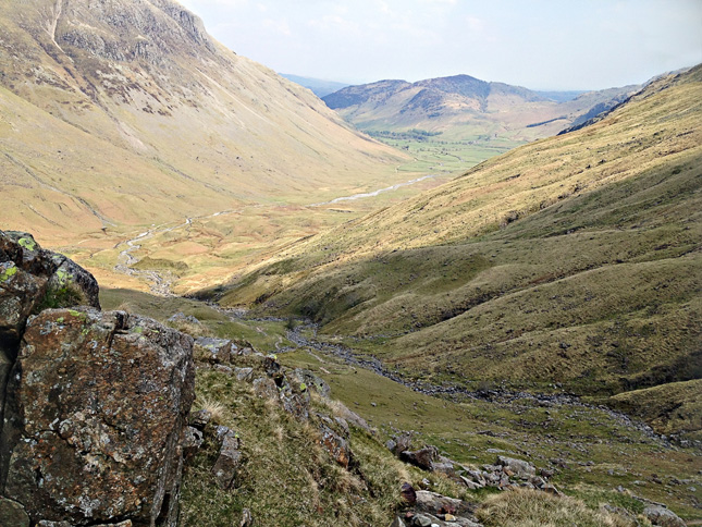 View from Rosset Gill down into Mickleden and Langdale beyond