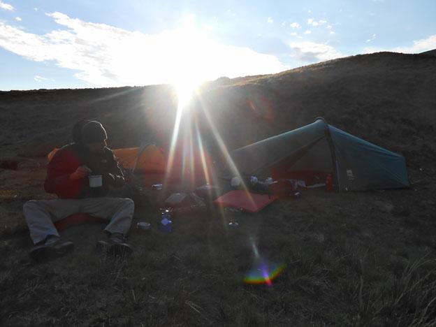Dawn at camp