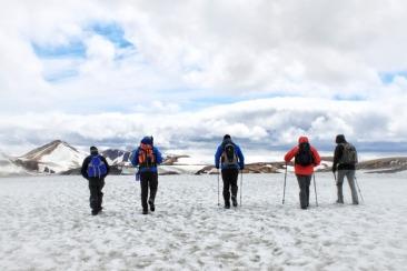 Trekking across snowy Iceland
