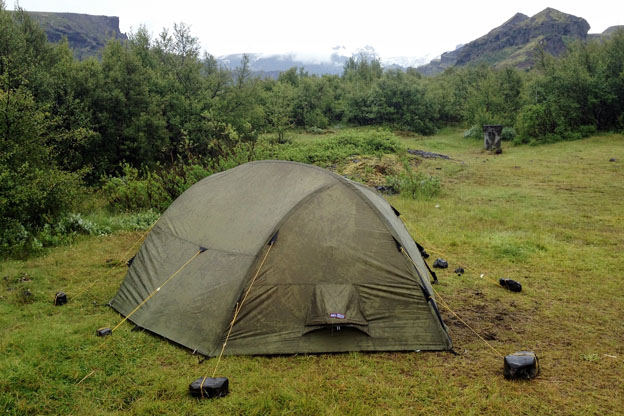 My tent at the trails end at Básar campsite