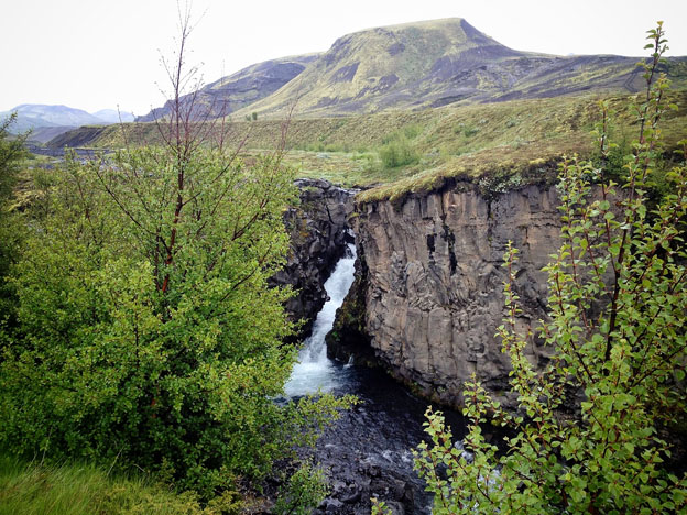 Mountains, waterfalls and trees all part of the Icelandic landscape