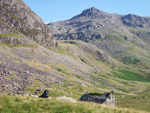 Scafell Pike and my rucksack dwarfed