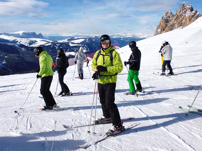 Myself preparing to ski-off at the start of the Sellaronda