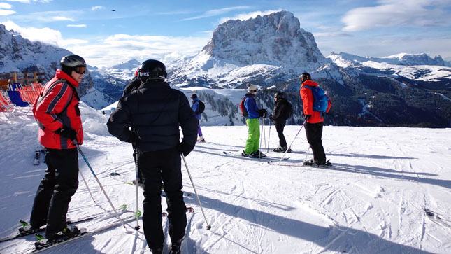 My ski compadres preparing to start the Sella