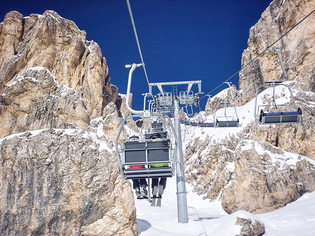 Taking the cable car through some of the rocky gorges around Cinque Torre