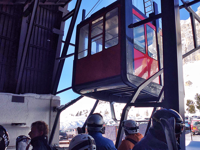 The Lagazuoi cable car taking skiers up to 2778m