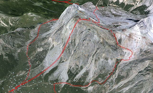 GPX data from Google Earth showing the black route descent from Lagazuoi