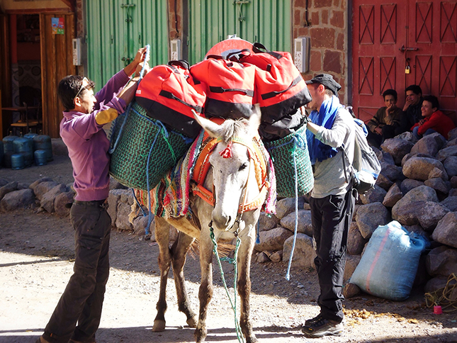 Our muleteer and guide loading our gear onto the poor mule