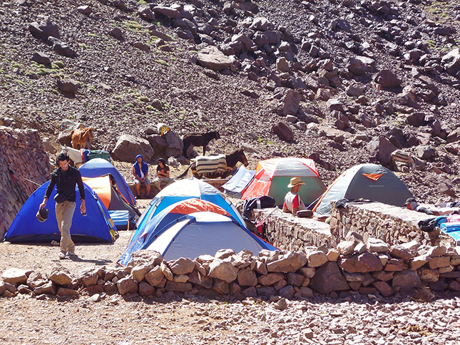 Campers at the base camp at (3207m)
