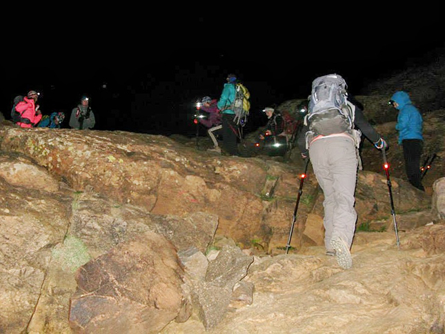 Leaving in the dark for the summit