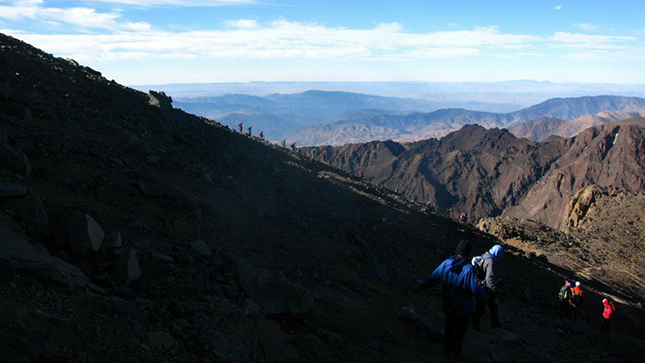 Descending the treacherous scree slopes on Toubkal
